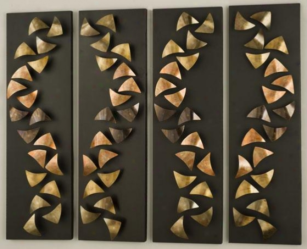 """progression Wall Art - Set Of 4 - Set 36""""hx42""""w, Copper"""