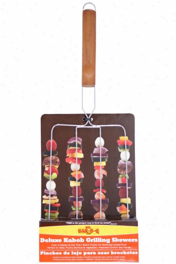 Prong Skewers - 19.68hx7.48wx.6, Brown Wood
