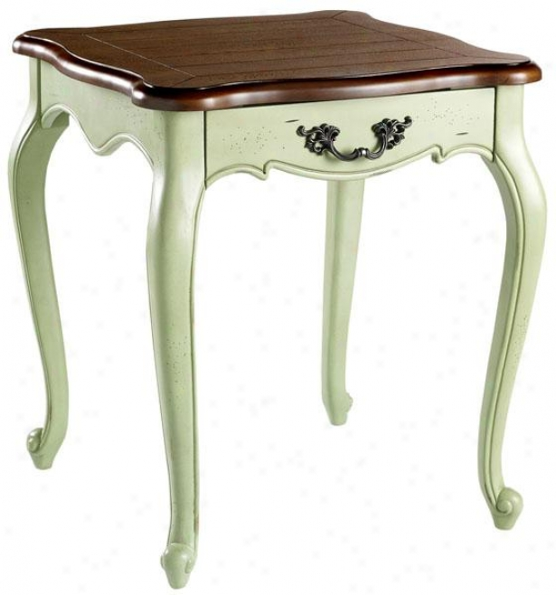 """provence Side End Table - 25""""hx22""""w, Green/chstnt Tp"""