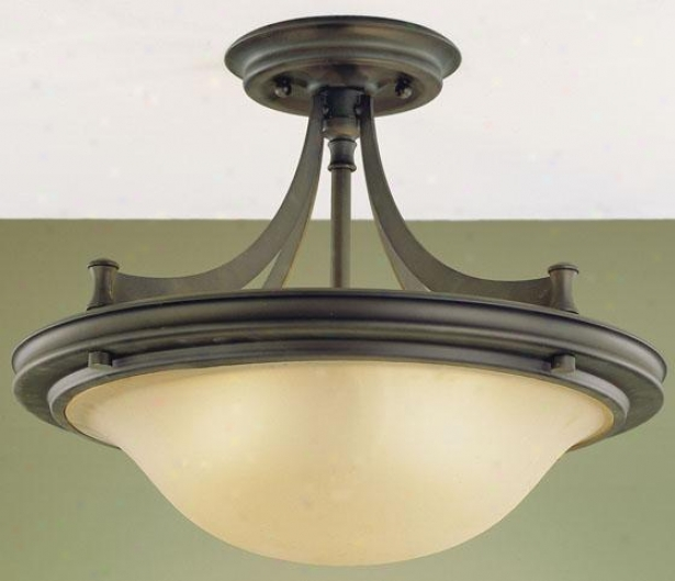 Pub Semi-flush Moumt - Three Light, Oil Rub Bronze