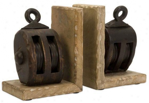 Pulley Bookends- Set Of 2 - Set Of 2, Brown