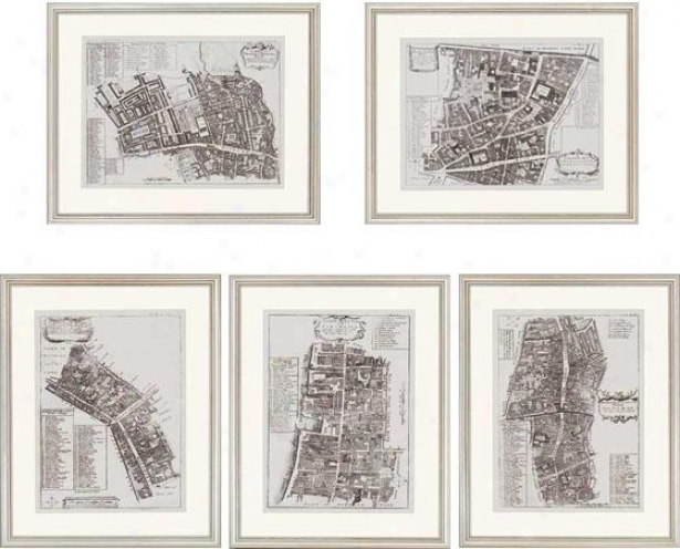 Quays Of London Wall Art - Set Of 5 - Set Of Five, Black And Whitr