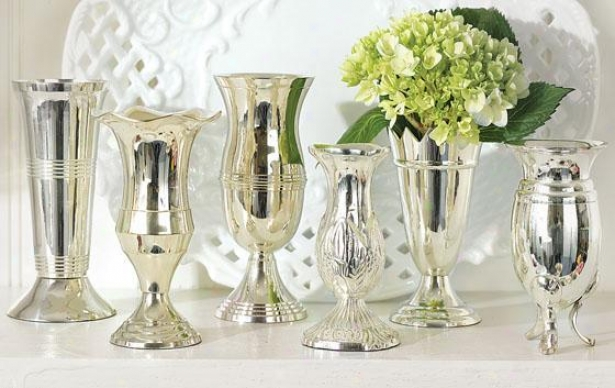 Queen Anne's Silver Vases - Set Of 6 - Set Of 6, Silver