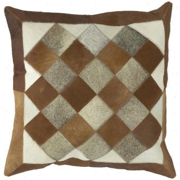 """quilt Squares Patterned Pillows - Stake Of 2 - 18""""x18"""", Browb"""