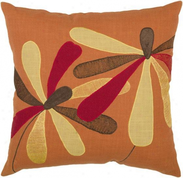 """quinn Pillow - 18"""" Square, Orange"""