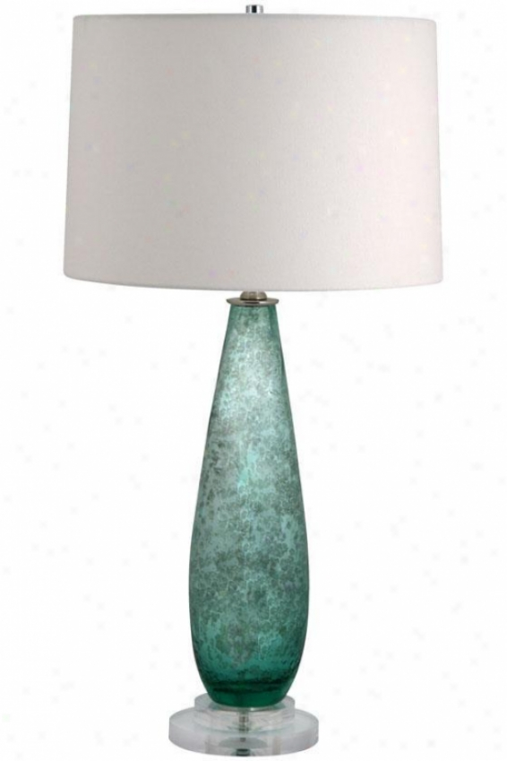 """rain Table Lamp - 28""""hx14""""w, Green"""