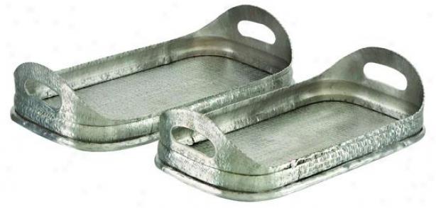 """rasha Aluminum Small trough - Set Of 2 - Setof2/17""""&16"""", Silver"""