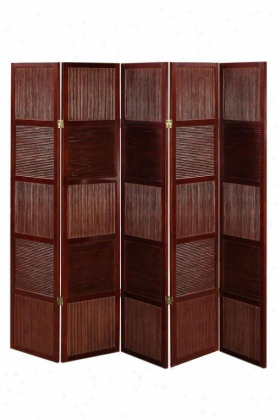 """rattan And Wood 66.25""""h Five-panel Room Divider - Five-panel, Crimson Red"""