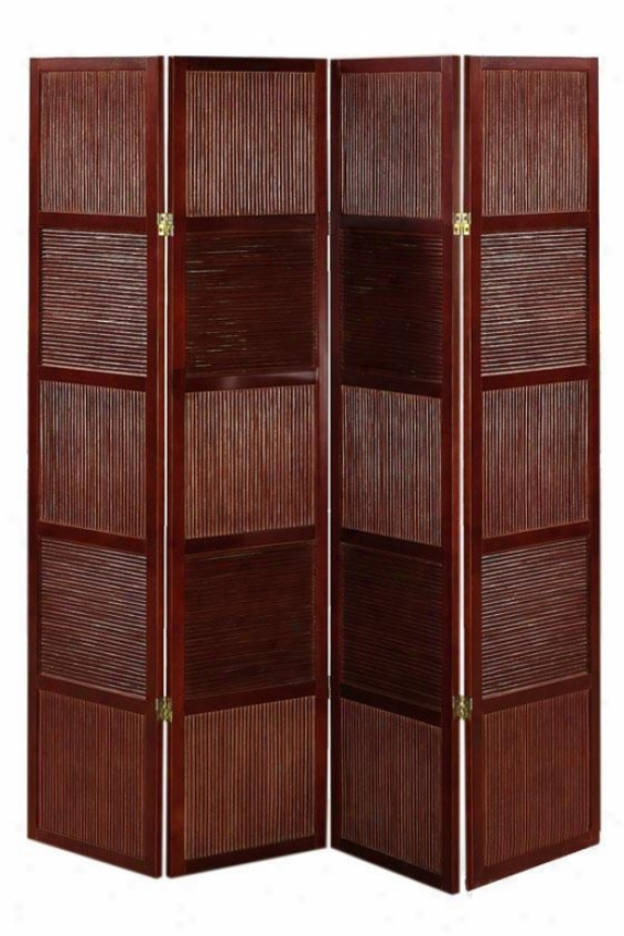 """rattan And Wood 66.25""""h Four-panel Room Divider - Four-panel, Crimson Red"""
