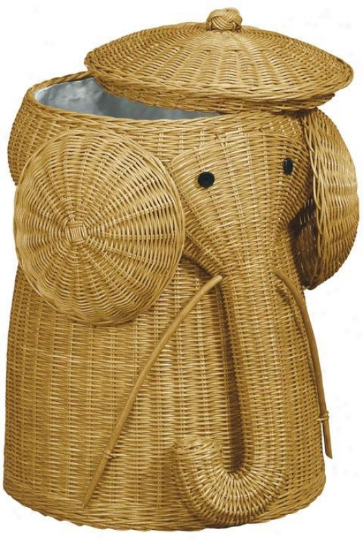 """ratan Elephant Garments Laundry Hamper - 22""""hx14""""d, Tan"""