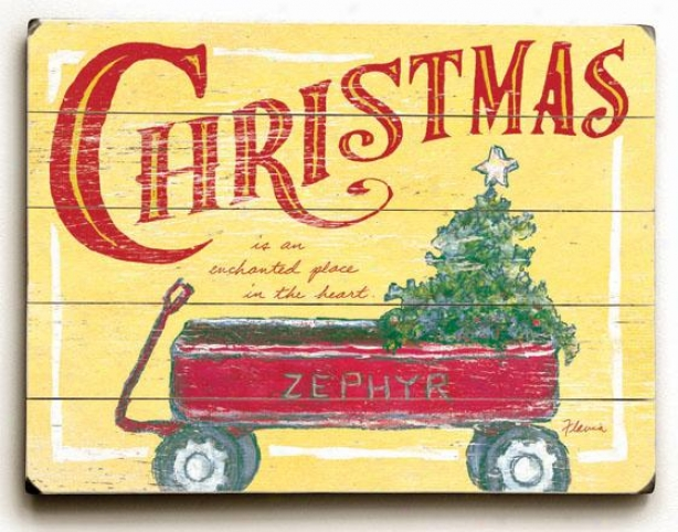 """red Christmas Wagon Art - 25""""hx34""""w, Holiday Multi"""