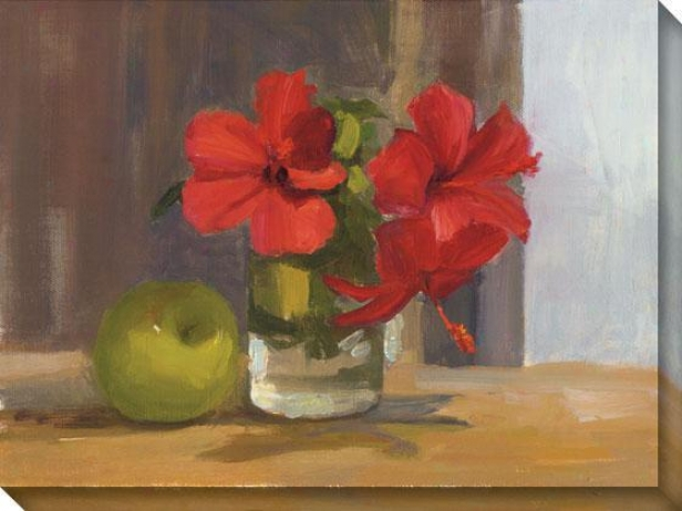 """red Hibiscus With Apple Canvas Wall Art - 36""""hx48""""w, Red"""