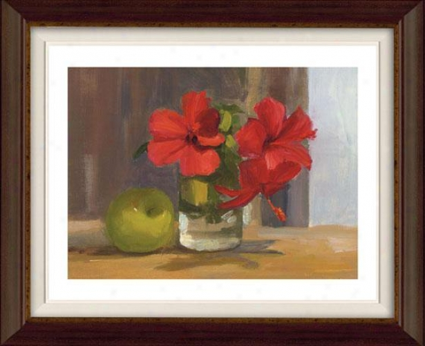 """""""red Hibiscus With Apple Framed Wall Art - 32""""""""hx38""""""""w, Flt Atq Wln/gld"""""""