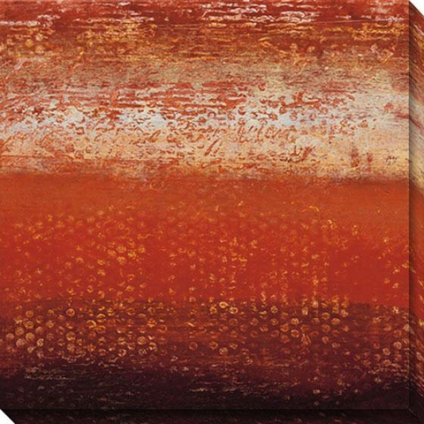 Red Strata Iii Canvas Wall Art - Ii, Red