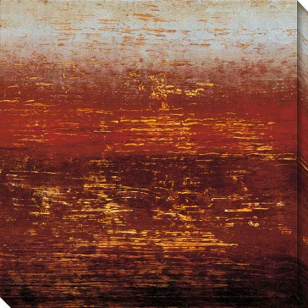 Red Strata Iii Canvas Wall Art - Iii, Red