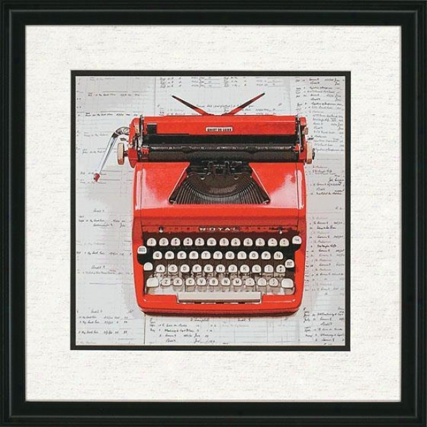 """red Typewriter Wall Art - 26""""hx26""""w, Red"""