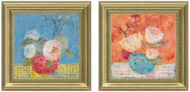 Red Vase Framwdd Wall Art - Set Of 2 - Set Of Two, Pastels