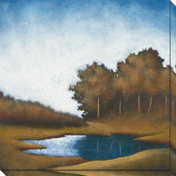 """reflecting Pool Canvas Wall Art - 40""""hx40""""w, Blue"""
