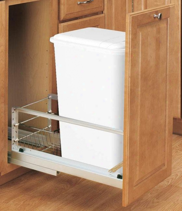 """rev-a-shelf P5emiere 50-quart Waste Container - 23h X11w X22""""d, Silver"""