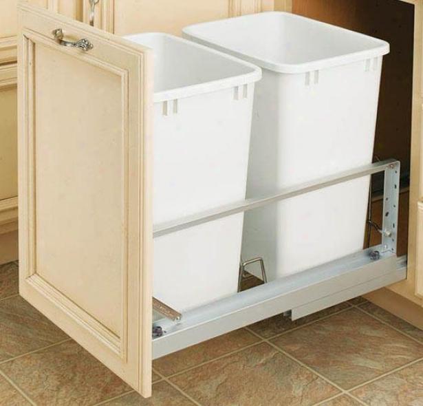 Rev-a-shelf Premiere Double 35-qt Waste Containers - 19.25h X 15wx22, Silver