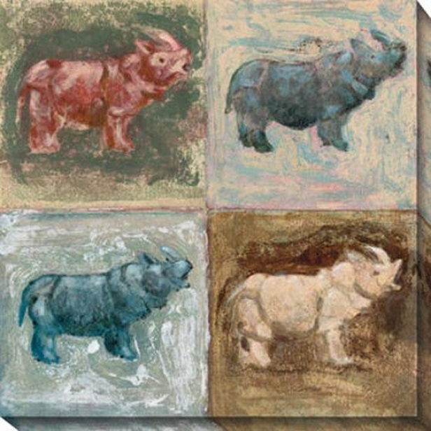 """rhino Canvws Wall Art - 40""""hx40""""w, Multi"""