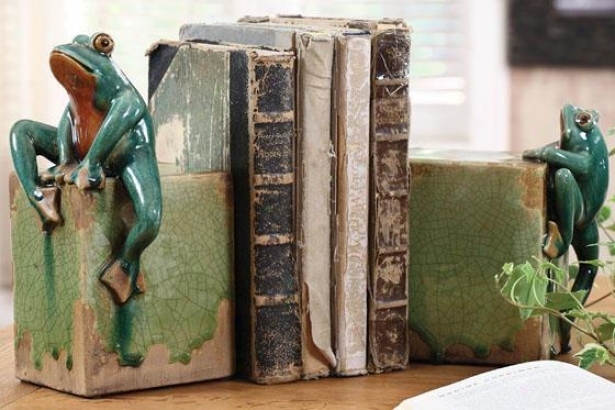 Ribbit Bookends - Stud Of 2 - 5.5x5.5, Green