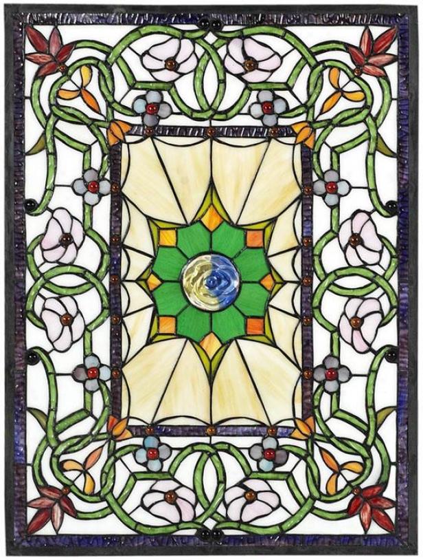 """richmond Stained Art Glass Window Panel Medium Rectangle - 24""""hx18""""w, Burgundy"""