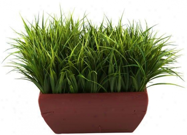 """river Grass In Square Wooden Pkanter - 13""""hx16""""w, Green"""
