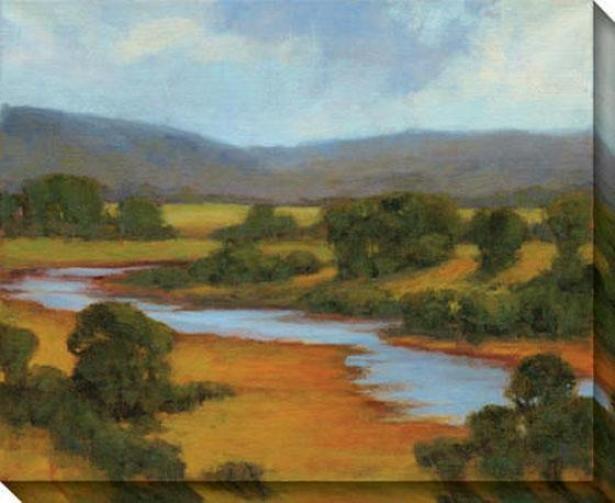 Large stream Overlook Ii Canvas Wall Art - Ii, Green