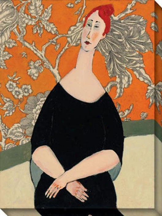 """robert's Mandarin Redjead Canvas Wall Art - 36""""hx48""""w, Orange"""