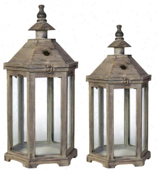 Robin Lantern - Set Of 2 - Set Of 2, Gray