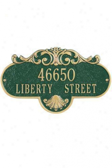 Rochelle Two-line Estate Wall Address Plaque - Estate/two Line, Green