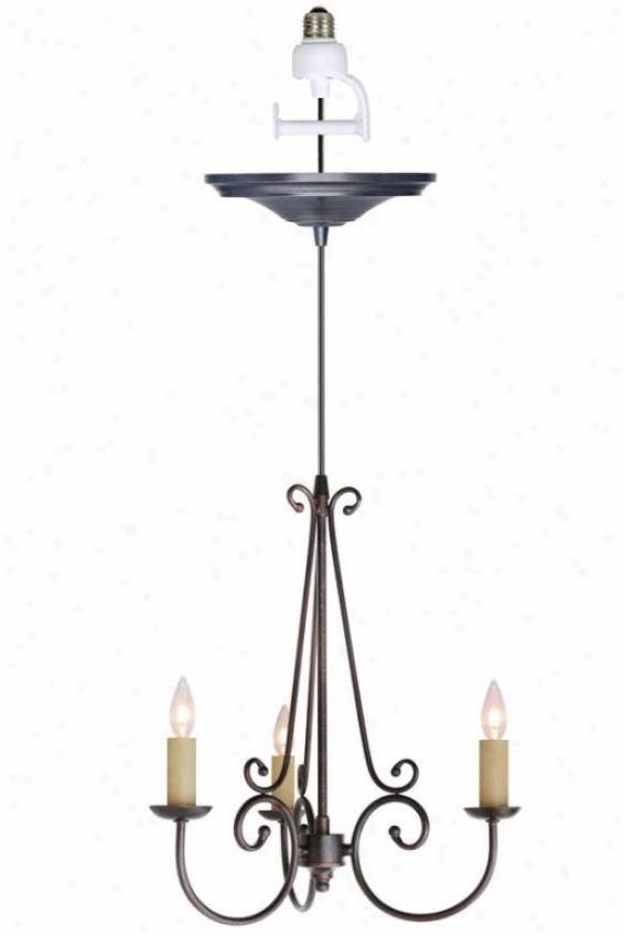 """rogen Small Instat Chandelier Light Conversion Kit - 17""""dx14""""h, Copper Bronze"""