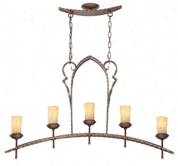 Rosario Island Chandeliers - 5-light, Brown Metal