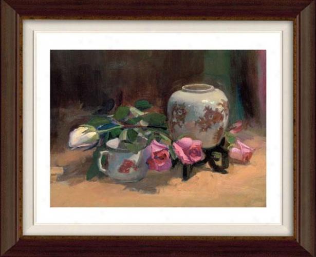 """""""rose Shadow Framed Wall Art  -36""""""""hx38""""""""w, Flt Atq Wln/gld"""""""