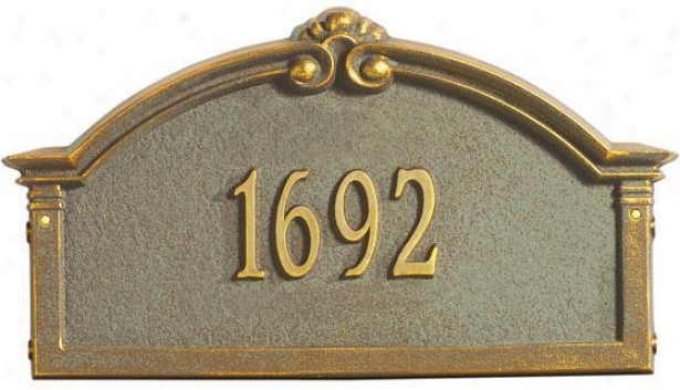 Roselyn One-line Estate Lawn Address Marker - Estate 1 Line, Verdigris/bronz