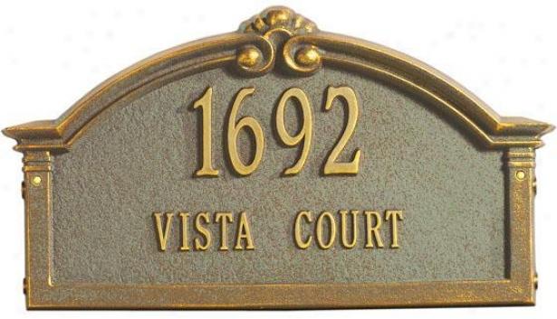 Roselyn Two-line Standard Lawn Address Marker - Standrad 2 Line, Verdigris/bronz