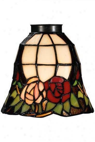 """roses Fan Vanity Light Shelter - 2.25"""" Neck, Pink"""
