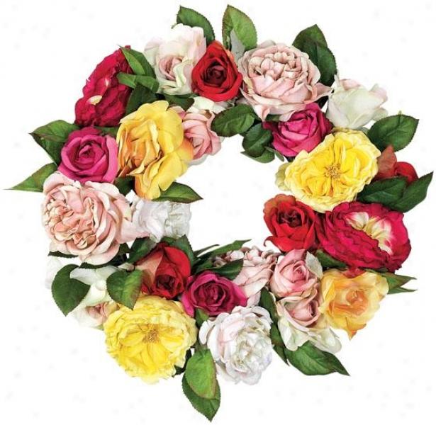 """""""rosie Wreath - 16""""""""d, Pink/green"""""""
