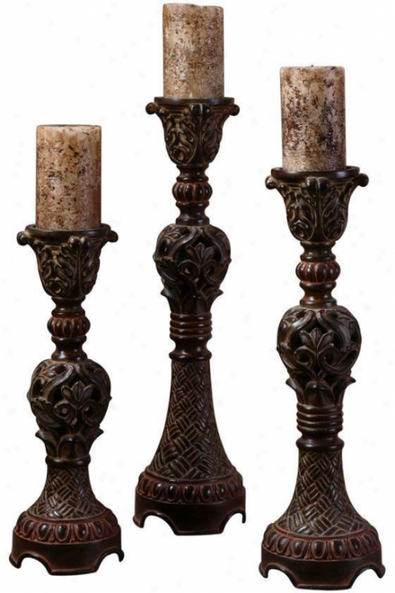 """rosina Candlesticks - Set Of 3 - 5""""diameter, Distrssd Walnut"""