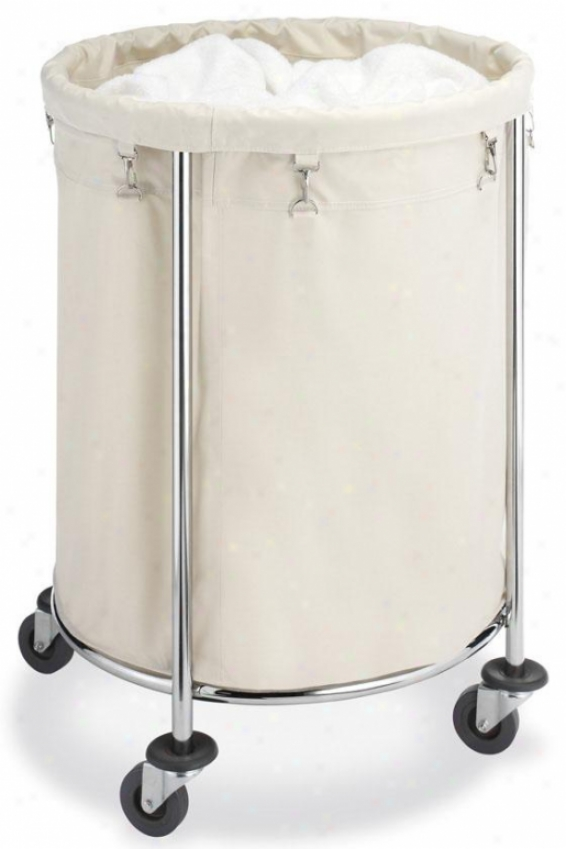 """round Commercial Clothes Laundry Hamper - 32""""hx24""""rounnd, Beige/chrome"""