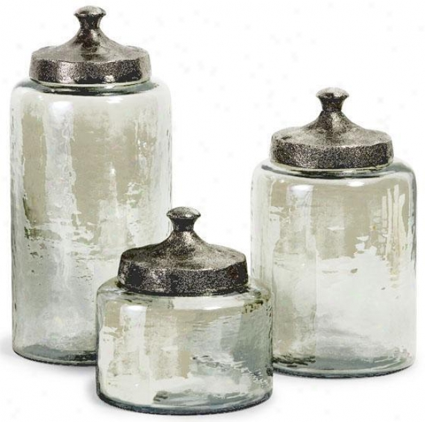 Round Luster Canisters - Set Of 3 - Set Of 3, Green