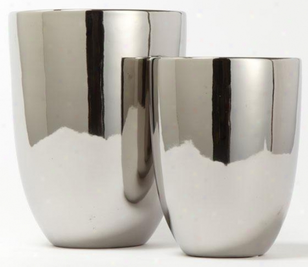 Round Silver Vases - Attitude Of 2 - Set Of Two, Silver