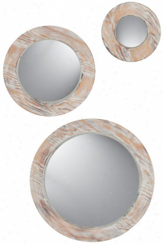 Round Washed Wood Mirrors - Set Of 3 - Set Of 3, Beige