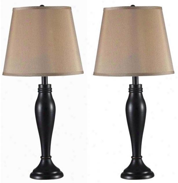 """roxbury Table Lamp - Set Of 2 - 29hx14""""w Set/2, Oil Fret Bronze"""