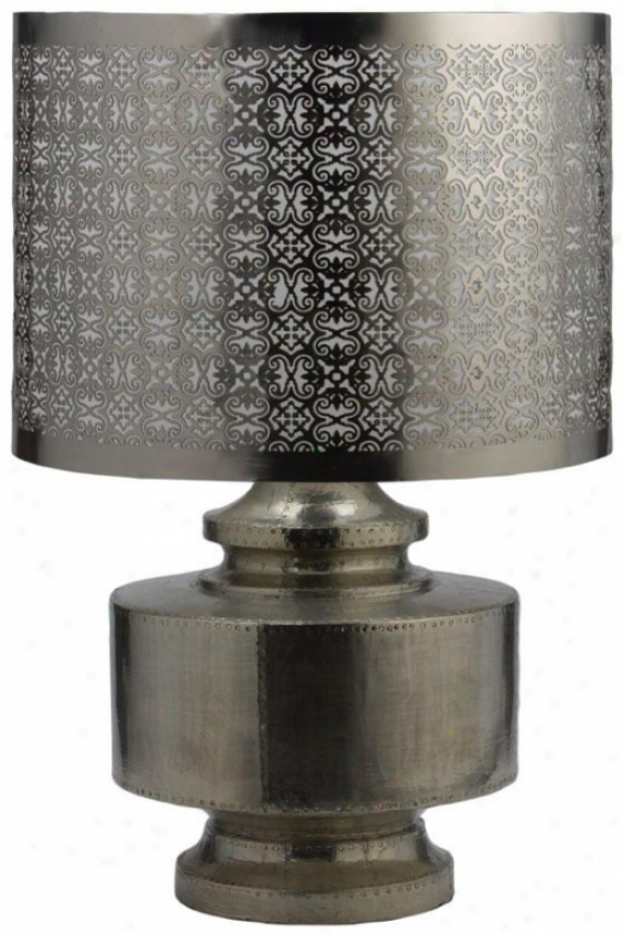 Royal German Lamp - 20.5hx13.75d, Mango Wood Silv