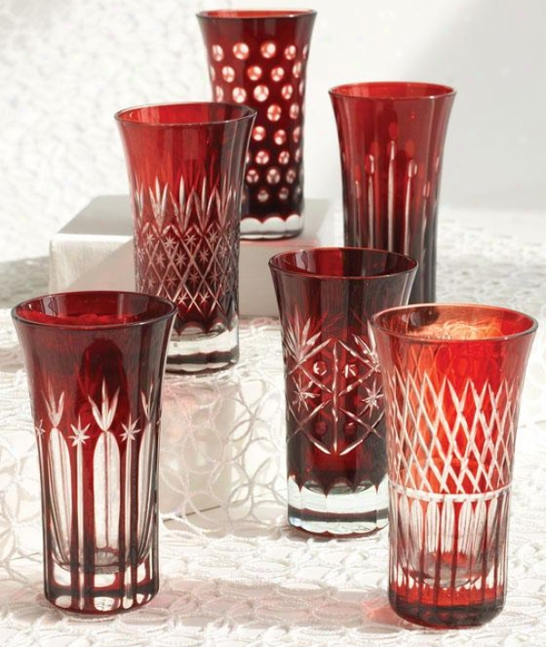 Riby Liquor Glasses - Set Of 6 - Set Of Six, Ruby Red