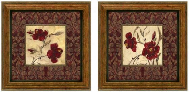 Ruby Red Framed Wall Art - Set Of 2 - Regulate Of Two, Burgundy