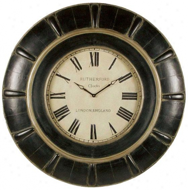 """rudy Wall Clock - 37 X 37 X 3""""d, Rustic Black"""