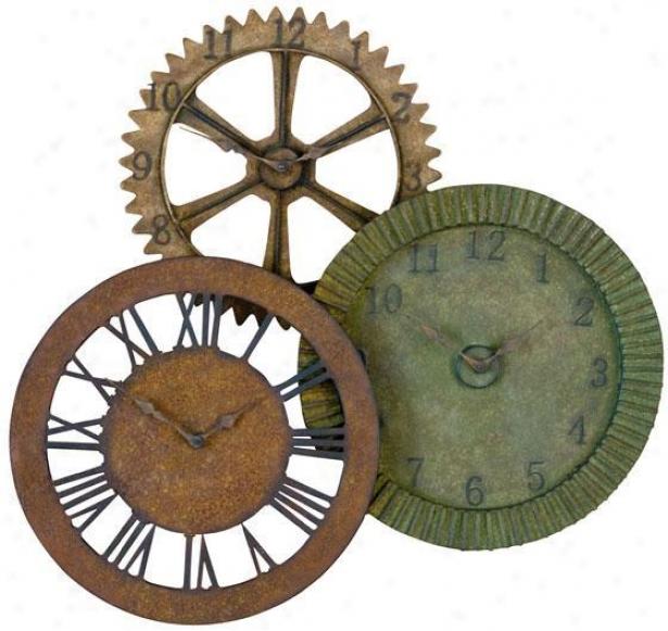 """""""rustic Gears Metal Clock - 33""""""""hx35""""""""w, Dstrssdmultitns"""""""